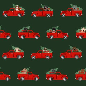 christmas dachshund red truck fabric - cute doxie fabric, cute dachshund fabric, dog fabric, dog design,  - dark green