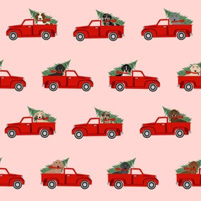 christmas dachshund red truck fabric - cute doxie fabric, cute dachshund fabric, dog fabric, dog design,  - pink