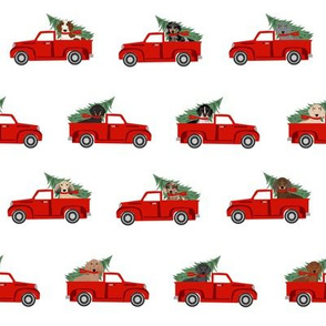 christmas dachshund red truck fabric - cute doxie fabric, cute dachshund fabric, dog fabric, dog design,  - red truck fabric