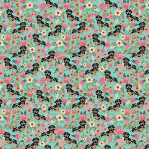 TINY -- doxie dog dachshund dachshunds fabric cute flowers mint fabric dapple dachshunds fabric cute dapple doxie design