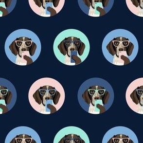 german shorthaired pointer dog selfie fabric, dog selfie, cute selfie, cute dog, glasses, dog glasses, dogs -  navy