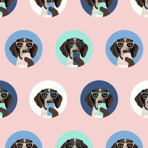 german shorthaired pointer dog selfie fabric, dog selfie, cute selfie, cute dog, glasses, dog glasses, dogs -  pink