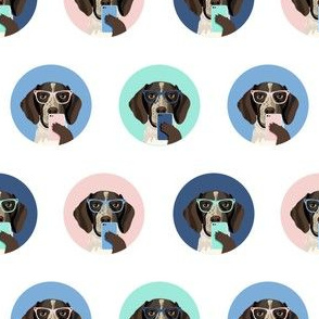 german shorthaired pointer dog selfie fabric, dog selfie, cute selfie, cute dog, glasses, dog glasses, dogs - white