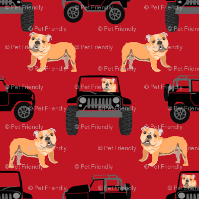 TINY - english bulldog dog adventure outdoors fabric, red and black dog fabric, dog fabric