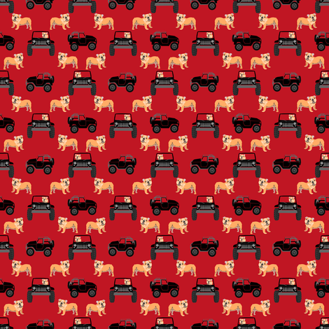 TINY - english bulldog dog adventure outdoors fabric, red and black dog fabric, dog fabric fabric by petfriendly on Spoonflower - custom fabric