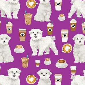 maltese coffee fabric - dog coffee fabric, maltese fabric, dog design, cute dog fabric - purple