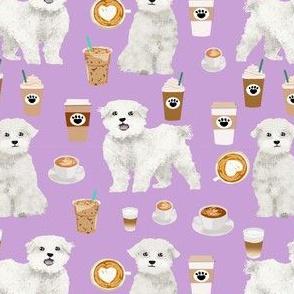 maltese coffee fabric - dog coffee fabric, maltese fabric, dog design, cute dog fabric - lavender