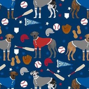 great dane baseball fabric - dog fabric, baseball fabric, dogs design, cute dog - americas pasttime - navy