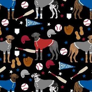 great dane baseball fabric - dog fabric, baseball fabric, dogs design, cute dog - americas pasttime - black