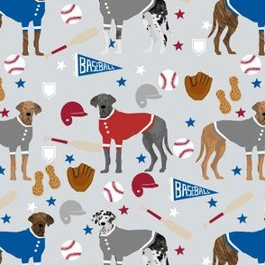 great dane baseball fabric - dog fabric, baseball fabric, dogs design, cute dog - americas pasttime - grey