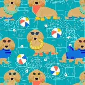 dachshund pool party fabric - doxie pool party, dog party, summer, cute dog, sandy dachshund -  turquoise