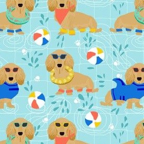 dachshund pool party fabric - doxie pool party, dog party, summer, cute dog, sandy dachshund - light