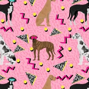 great dane rad 80s dude fabric - retro fabric, 80s fabric, great danes fabric -  pink
