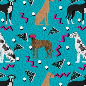 great dane rad 80s dude fabric - retro fabric, 80s fabric, great danes fabric - teal
