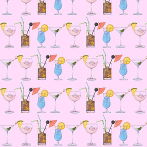 Cocktails - Pink Background
