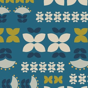 folk flowers grid-blue
