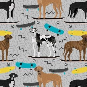 great dane skateboard fabric - retro cool dude fabric, skateboarding dog fabric, dogs fabric, great danes fabric - grey