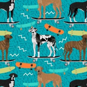 great dane skateboard fabric - retro cool dude fabric, skateboarding dog fabric, dogs fabric, great danes fabric - teal
