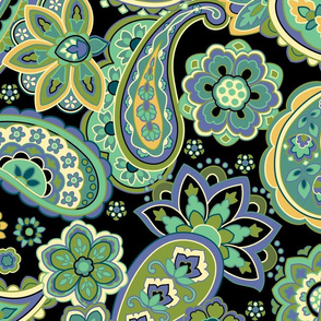 Green Paisley Swirl Large
