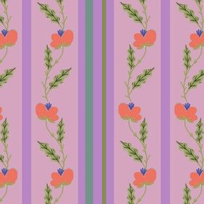 Orange Flowers on Pink and Purple Stripes