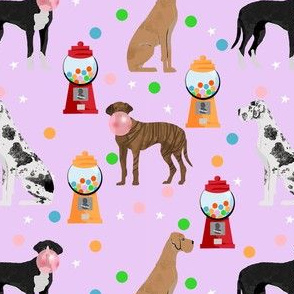 great dane gumball fabric - dog fabric, gumballs fabric, chewing gum fabric, dog fabric - purple