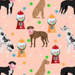 great dane gumball fabric - dog fabric, gumballs fabric, chewing gum fabric, dog fabric - peach