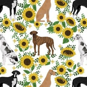 great dane sunflowers fabric - dog fabric, sunflowers fabric, yellow fabric - white