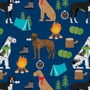 great dane fabric - camping dog fabric, great dane camping, dog design, cute dog , outdoors - navy