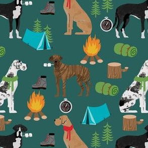 great dane fabric - camping dog fabric, great dane camping, dog design, cute dog , outdoors - green