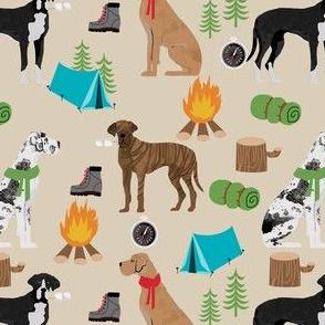great dane fabric - camping dog fabric, great dane camping, dog design, cute dog , outdoors - khaki