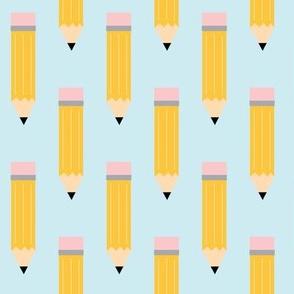 School Pencil Pattern in Blue