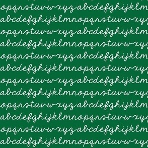 Mini Cursive Alphabet School Pattern in Green