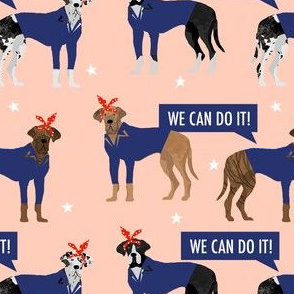 great dane rosie the riveter fabric - dog fabric, great danes fabric, great dane, dog, - peach