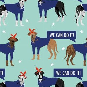 great dane rosie the riveter fabric - dog fabric, great danes fabric, great dane, dog, -  mint
