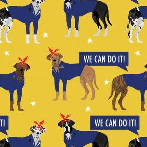 great dane rosie the riveter fabric - dog fabric, great danes fabric, great dane, dog, - yellow
