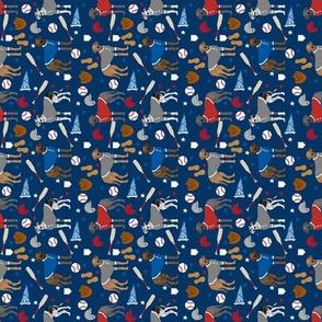 SMALL - great dane baseball fabric - dog fabric, baseball fabric, dogs design, cute dog - americas pasttime - navy