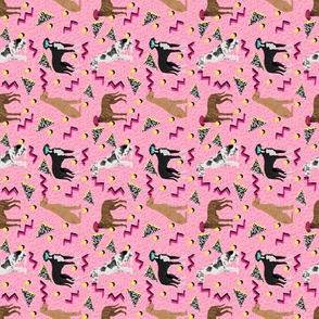 SMALL - great dane rad 80s dude fabric - retro fabric, 80s fabric, great danes fabric - pink