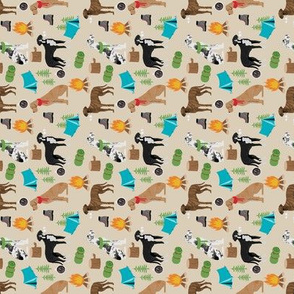 SMALL - great dane fabric - camping dog fabric, great dane camping, dog design, cute dog , outdoors - khaki