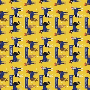 SMALL - great dane rosie the riveter fabric - dog fabric, great danes fabric, great dane, dog, - yellow