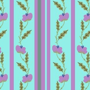 Purple Flowers on Aqua Blue Stripes
