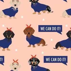 doxie rosie fabric - rosie the riveter fabric, dog fabric, dog costume fabric - peach