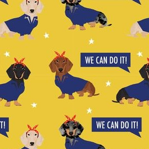 doxie rosie fabric - rosie the riveter fabric, dog fabric, dog costume fabric - yellow