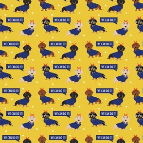SMALL doxie rosie fabric - rosie the riveter fabric, dog fabric, dog costume fabric - yellow