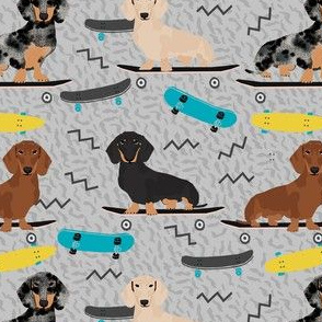 doxie skateboard fabric - sk8 fabric, dog fabric, dogs fabric, cute dog - grey