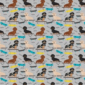 SMALL - doxie skateboard fabric - sk8 fabric, dog fabric, dogs fabric, cute dog - grey