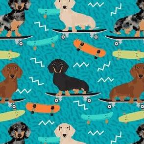 doxie skateboard fabric - sk8 fabric, dog fabric, dogs fabric, cute dog - teal