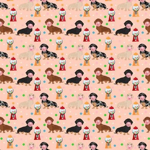 SMALL - doxie gumball fabric - dachshund fabric, sweets fabric, dog fabric - peach