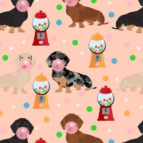 doxie gumball fabric - dachshund fabric, sweets fabric, dog fabric - peach