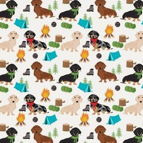 SMALL - doxie camping fabric - dog fabric, dachshund fabric, campfire fabric, outdoors adventurer fabric -