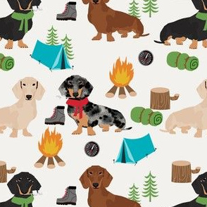 doxie camping fabric - dog fabric, dachshund fabric, campfire fabric, outdoors adventurer fabric - cream